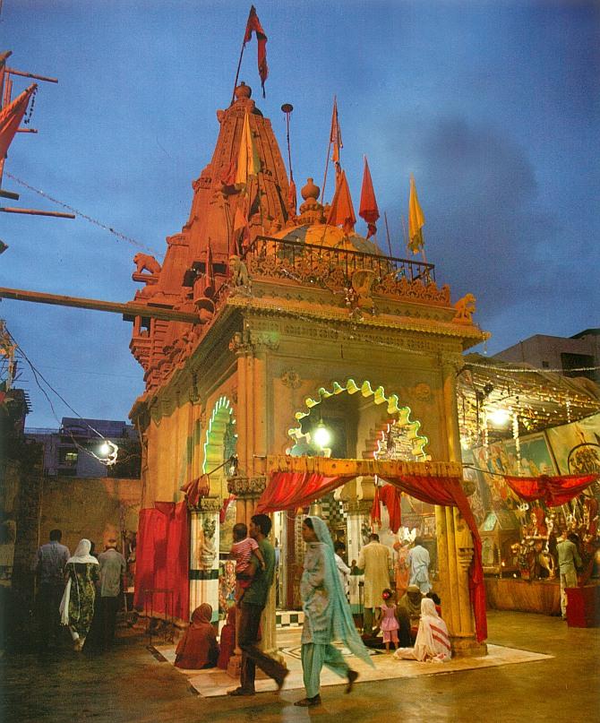 The Hanuman temple by nightfall.