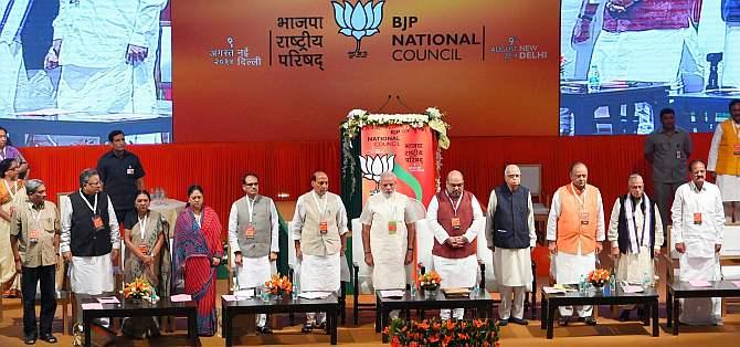 Modi, BJP President Amit Shah, LK Advani, M M Joshi, Rajnath Singh, M Venkaiah Naidu, Arun Jaitley and other senior leaders during the party's meet in New Delhi