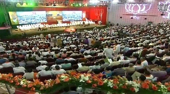 BJP leaders and mebers attend the national council meet in New Delhi