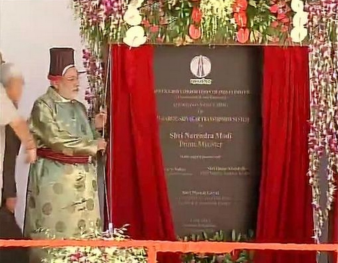 Modi inaugurates Leh-Kargil-Srinagar transmission line and an NHPC project