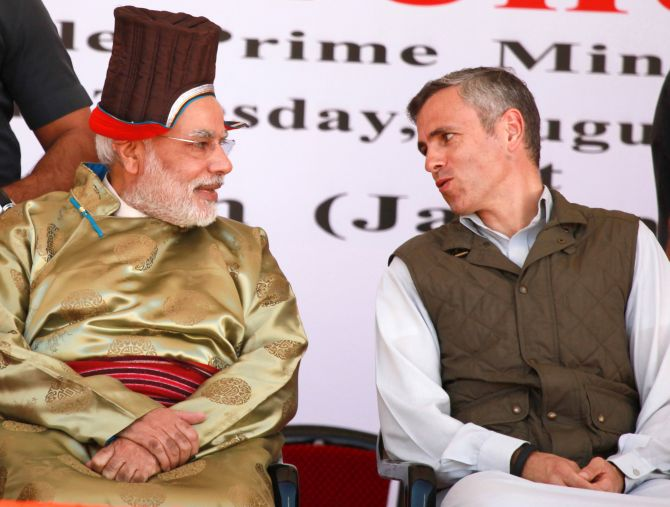 PM Modi in Leh with Chief Minister Omar Abdullah