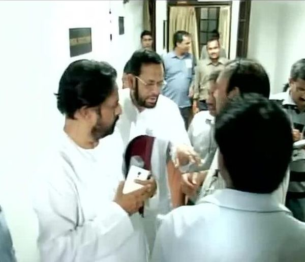 TMC MPs Sudip Bandyopadhyay and Sultan Ahmed outside Parliament room no 5