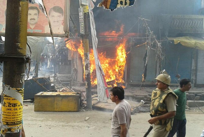 Shops gutted during the recent riots in Saharanpur in Uttar Pradesh. Photograph: Sandeep Pal