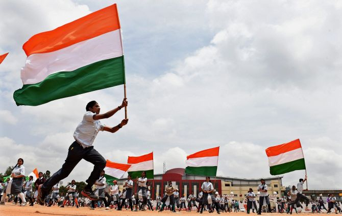 School students at the rehearsal for the Independence Day function at parade ground in Bengaluru