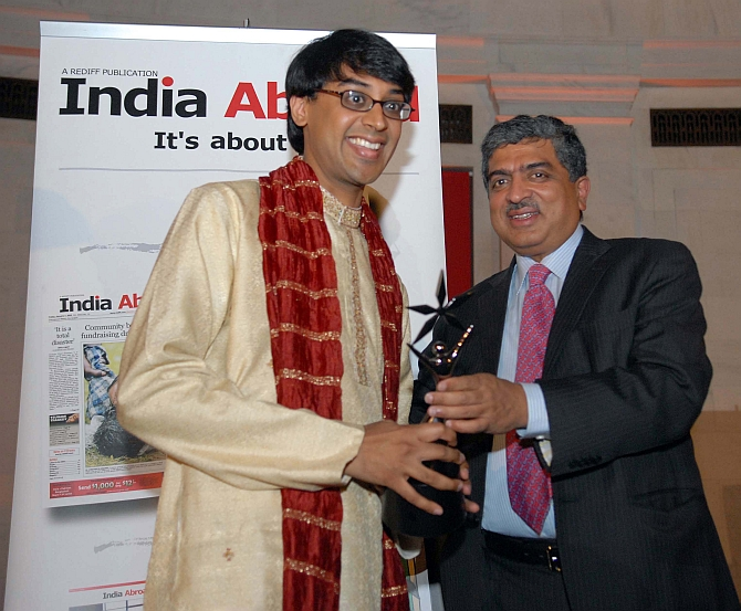 Dr Bhargava, the winner of India Abroad's first Face of the Future Award, with with Infosys co-founder Nandan Nilekani at the India Abroad awards.
