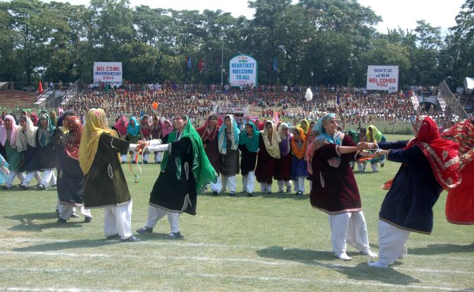 Independence Day celebrations at Bakshi Stadium in Srinagar.