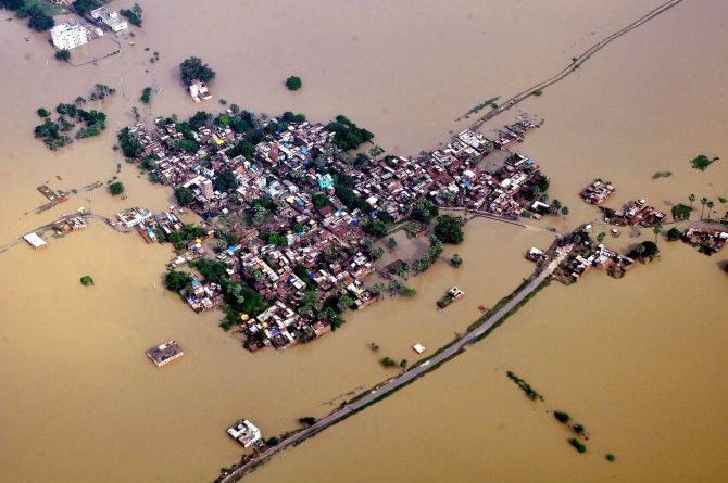 An aerial view of flood affected of Nalanda district of Bihar.