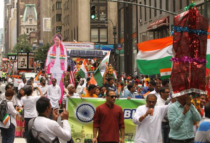 Posters and cut outs of various senior leaders and chief ministers of Indian states also figured prominently during the parade.