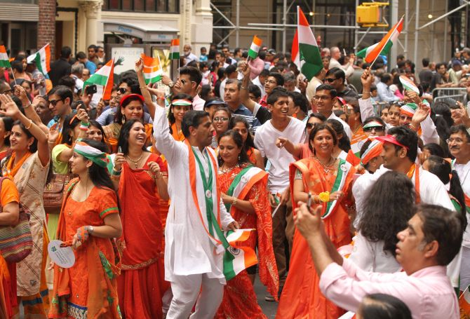 Orange, white and green took over the streets of New York as most people dressed in the colours of the Tricolour during the parade.