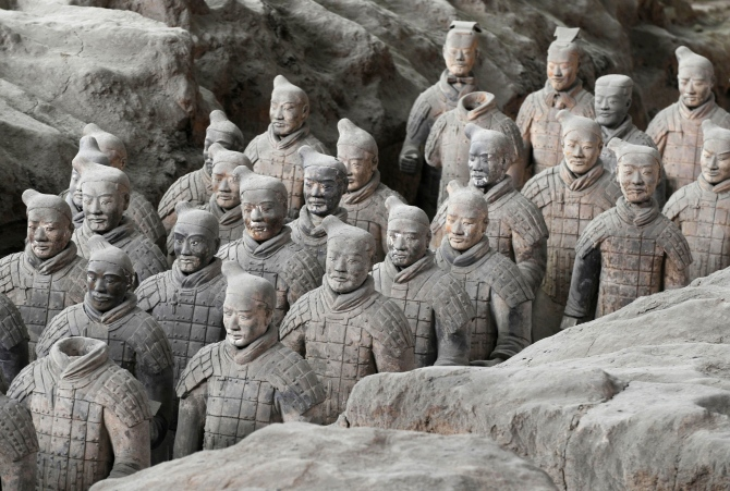 Hundreds of Terracotta warriors, which were unearthed during the first excavation from 1978 to 1984, stand inside the No 1 pit at a museum in Xi'an, Shaanxi province.