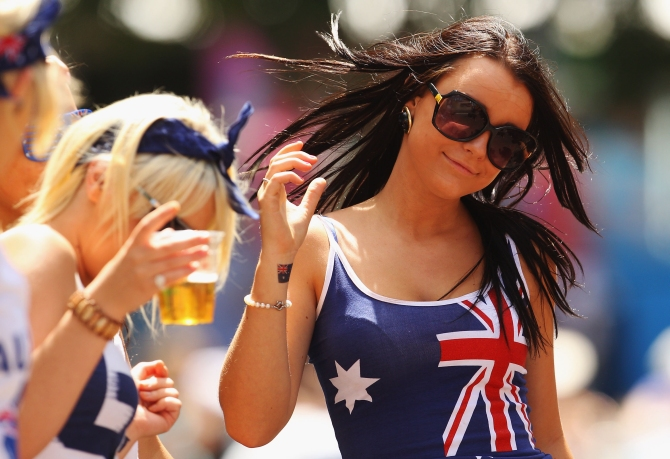 Spectators enjoy the atmosphere on Australia Day during day nine of the 2010 Australian Open at Melbourne Park on January 26, 2010 in Melbourne, Australia.