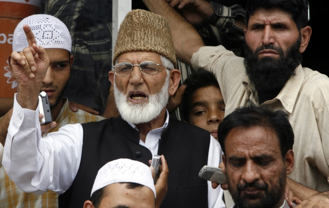 Syed Ali Shah Geelani, chairman of the hardliner faction of Kashmir's Hurriyat (freedom) Conference, addresses a protest in Srinagar.