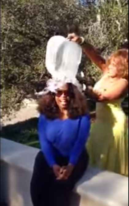 Talk show host Oprah Winfrey couldn't resist the challenge either