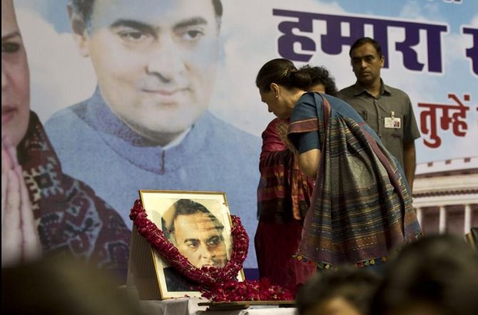Congress President Sonia Gandhi pays floral tributes to former prime minister Rajiv Gandhi on his 70th birth anniversary.