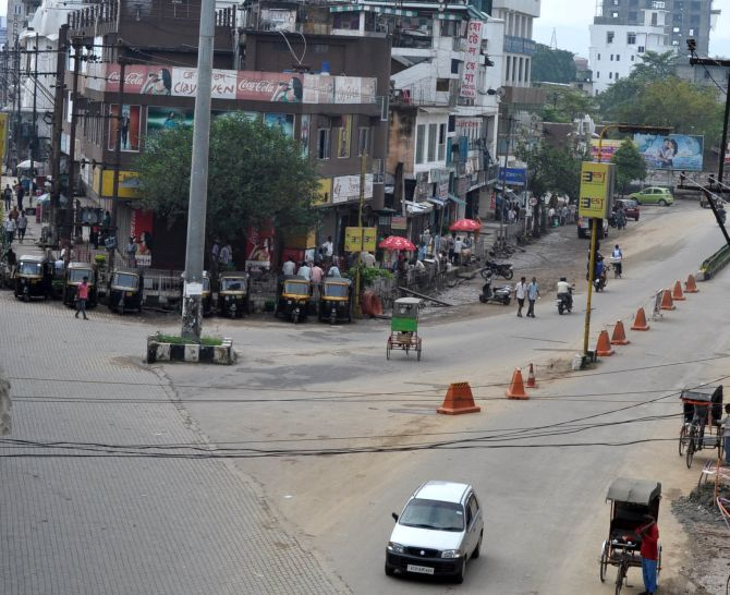 Roads in Guwahati bear a deserted look after a bandh was called in the state to protest against police brutality