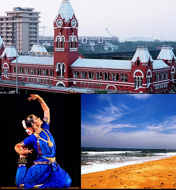 (Clockwise from top): Madras Central, Marina Beach and Bharata Natyam recital