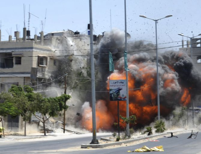 An explosion caused by an Israeli air strike