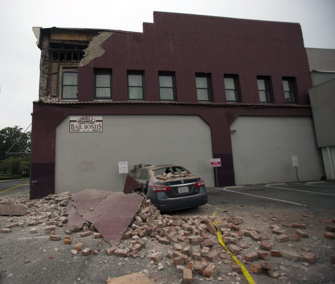 Damage to a downtown building is seen after an earthquake in Napa, California.
