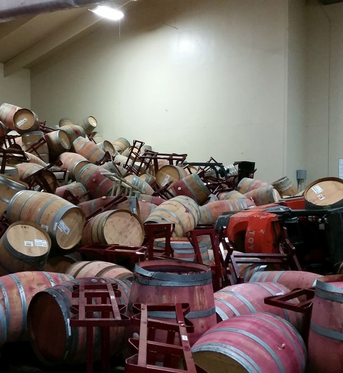 Raj Patel's barrel room after the earthquake. There are 55 plus barrels are  in this room, this is one of three barrel rooms and is the smallest of all three