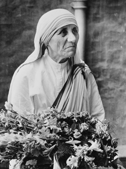 Mother Teresa seen in her hospital around the time she was awarded the Templeton Prize for Progress.