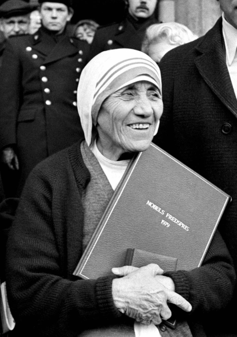 Mother Teresa is seen smiling in this 1979 file photo after receiving the Nobel Peace Prize.