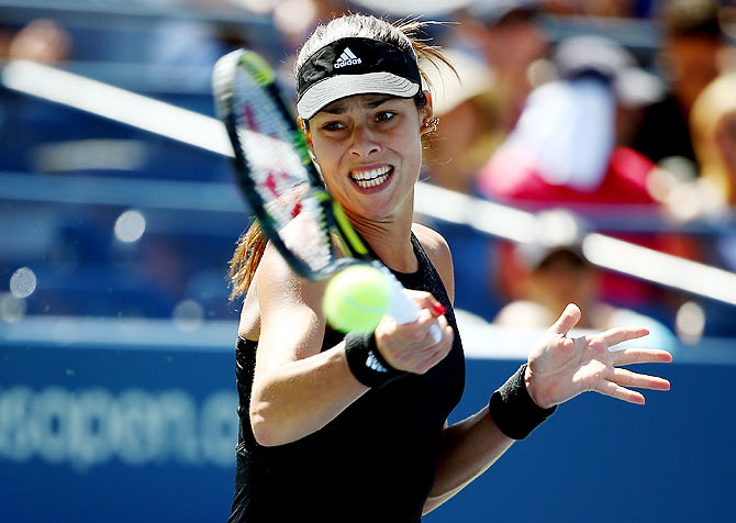 Ana Ivanovic of Serbia returns a shot to Karolina Pliskova of the Czech Republic during their US Open women's singles second round match at the USTA Billie Jean King National Tennis Center in New York on Thursday