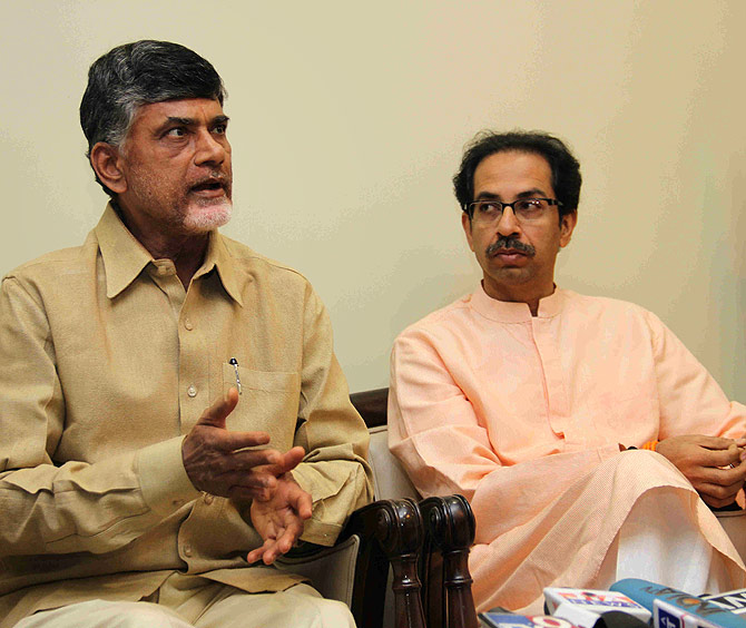 TDP chief Chandrababu Naidu with Shiv Sena President Uddhav Thackeray