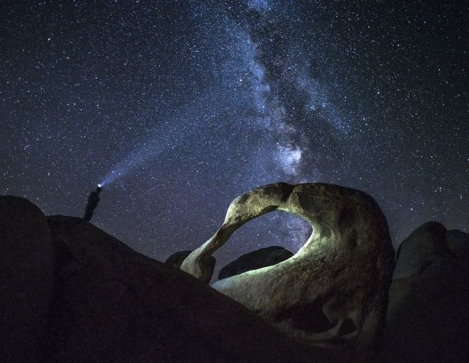Mobius Arch at Pyhae Luosto National Park at night with Milky Way. The Arch had been illuminated with 2 headlights