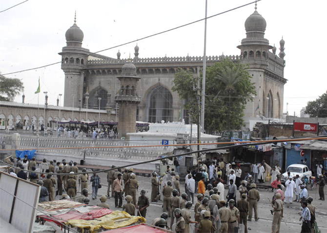 The Mecca Masjid in Hyderabad, another terror target.