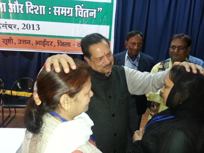 RSS leader Indresh Kumar with Muslim delegates at the Muslim Rashtriya Manch conclave on December 14.