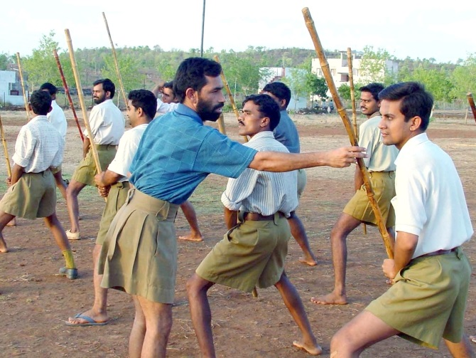 RSS activists at a training camp in Bhopal.