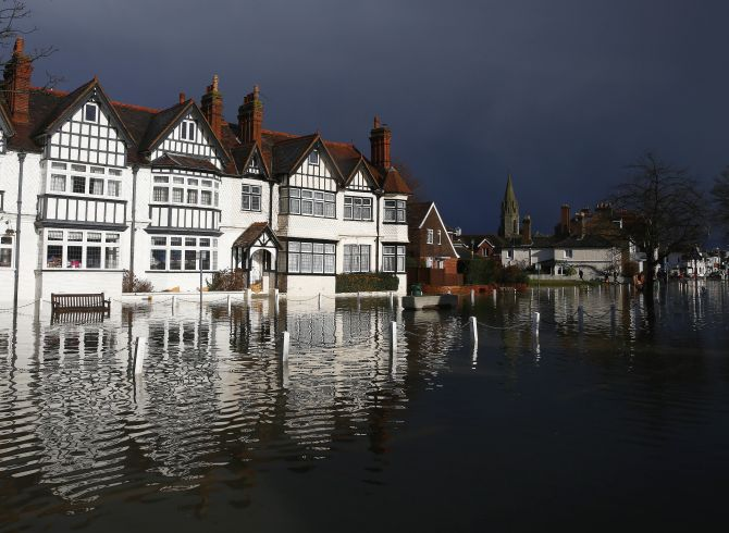 The river Thames floods the village of Datchet, southern England, Monday.