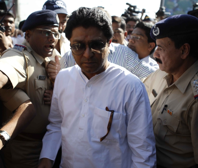 Maharashtra Navnirman Sena chief Raj Thackeray being released after he was being briefly held