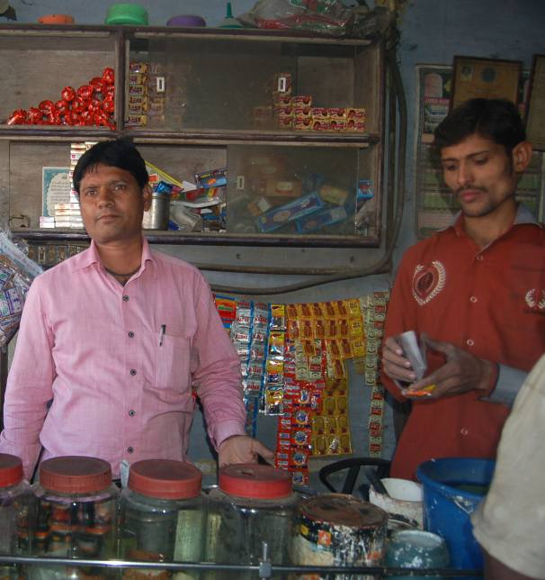 Zubair Shaikh catering to business inside his tea stall