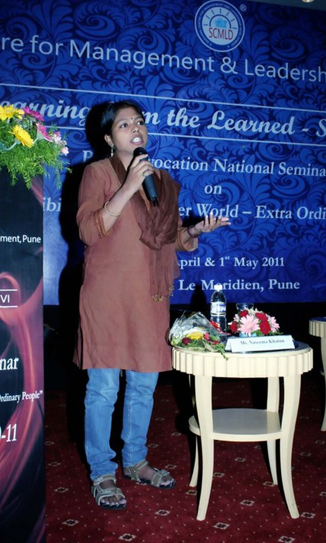 Naseema speaks at an event in Pune