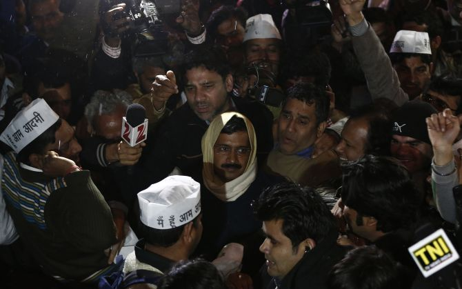 Kejriwal at the AAP headquarters to address his supporters in New Delhi