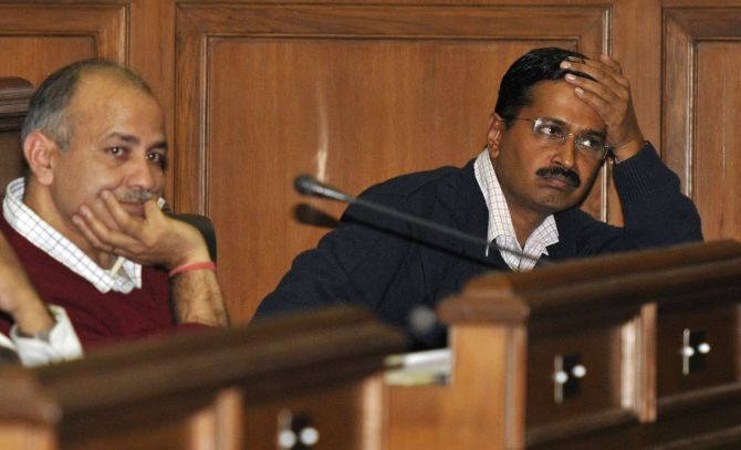 Kejriwal and Manish Sisodia attend a session at the Delhi assembly on Friday