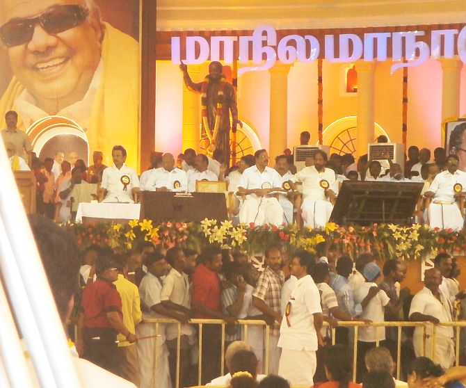 The stage with Karunanidhi dominating the background