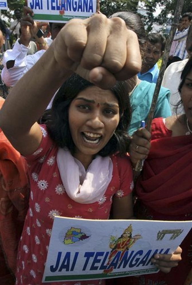 A pro-Telangana supporter participates in a protest in Hyderabad