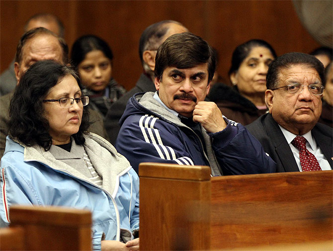 Akash's parents and at the court room