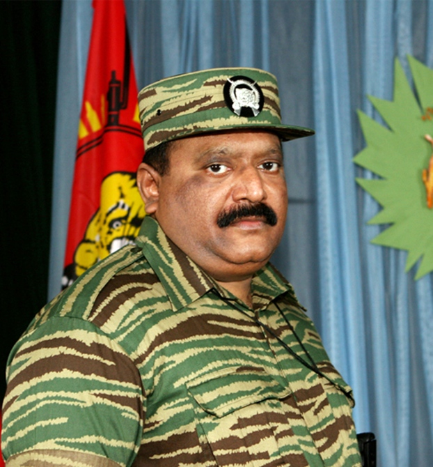 Former leader of the Liberation Tigers of Tamil Eelam Velupillai Prabhakaran.