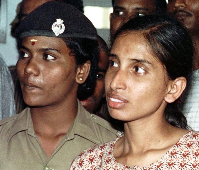 Nalini (right) seen in a court in Chengalpattu in this photograph taken on June 15,1991.