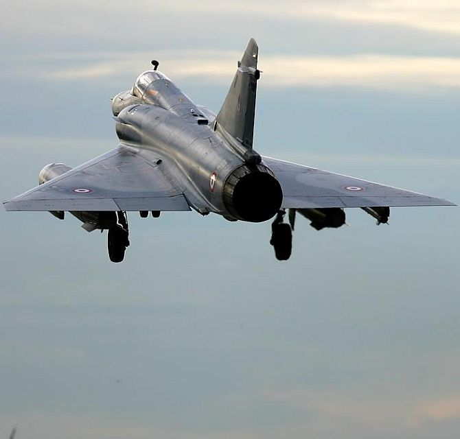 A Mirage 2000 aircraft takes off.