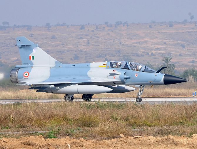 A twin-seater Mirage-2000 at the Air Force Station in Gwalior.