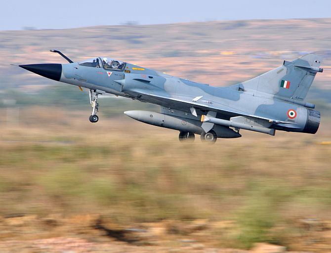 A twin-seater Mirage-2000 takes off from the Air Force Station in Gwalior.