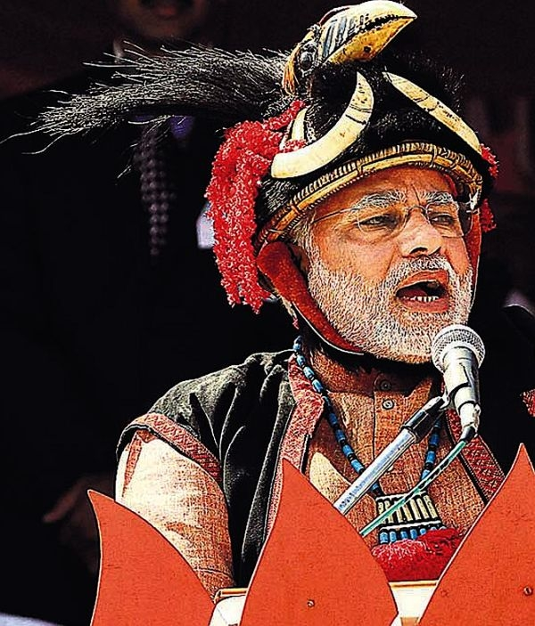 Modi addresses a rally in Pasighat, Arunchal Pradesh