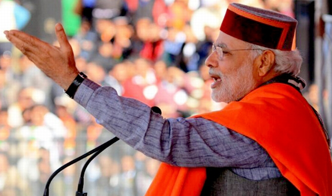 Modi delivers a speech at a rally in Sujanpur Tira, Himachal Pradesh