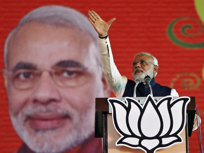 Modi at the BJP's national council meeting at Ramlila ground in New Delhi