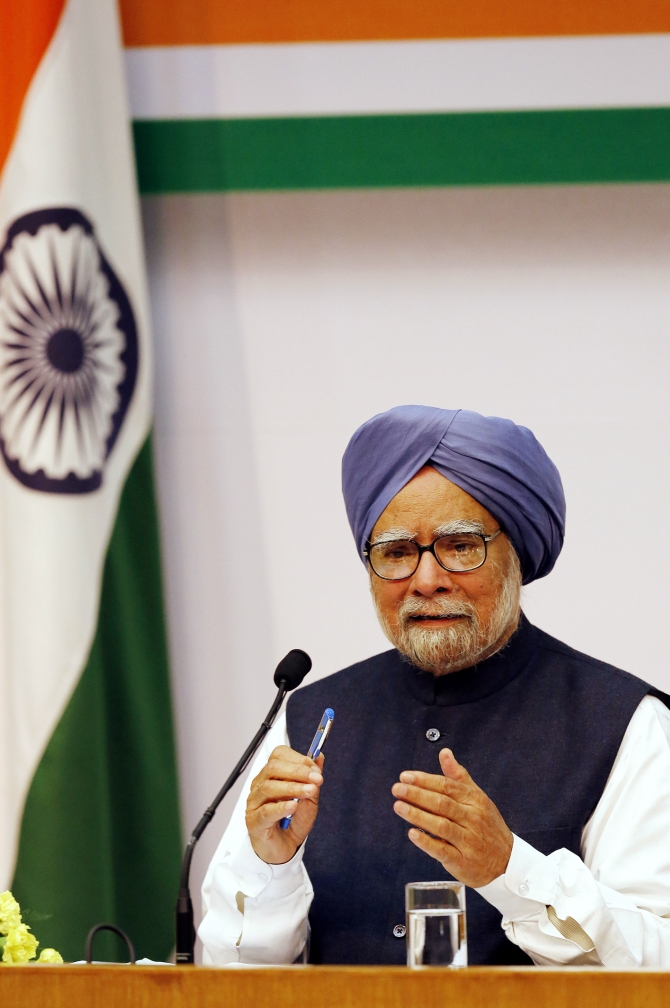 PM Manmohan Singh speaks during a news conference in New Delhi