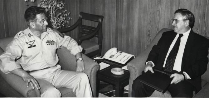 Then Pakistan president General Pervez Musharraf, left, with then US Ambassador to Pakistan William Milam at the army headquarters in Rawalpindi.